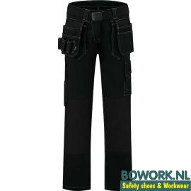 Werkbroek Workman Design Worker Ladies Zwart voorkant