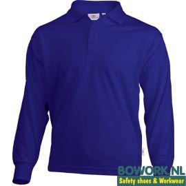 Poloshirt Uniwear met lange mouwen Royal Blue