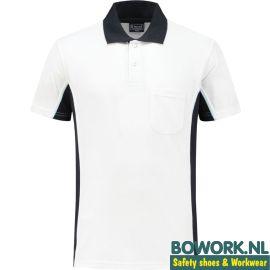 Poloshirt Workman Wit-Navy 1401